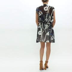 Aquascutum Floral Print Dress Black