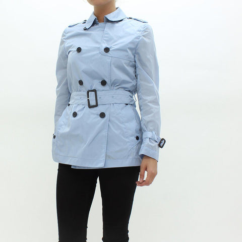 Womens - Aquascutum Short Belted Rain Mac Jacket Blue