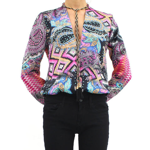 Womens - Forever Unique Aztec Silky Leotard Blouse Multicoloured