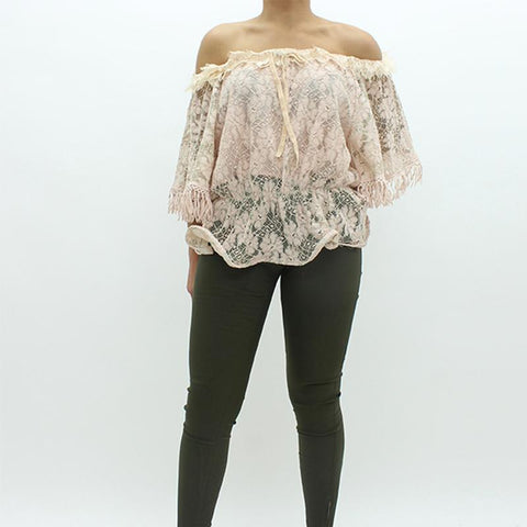 Womens - Forever Unique Blush Lace Top Pink