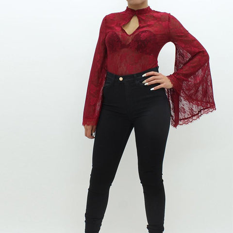 Womens - Forever Unique Bonny Lace Bodysuit Red