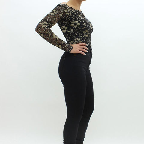 Womens - Forever Unique Divine Bodysuit Black
