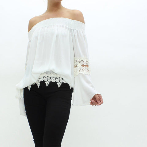 Womens - Forever Unique Drop Shoulder Blouse Top White