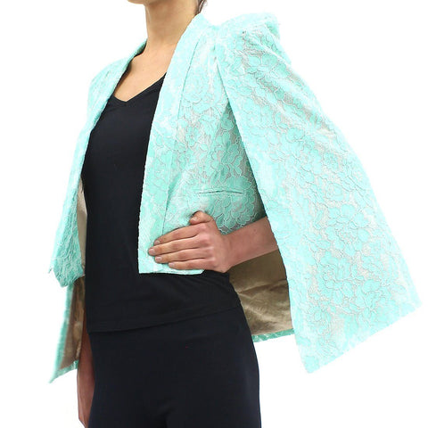 Womens - Forever Unique Lace Cape Jacket Green