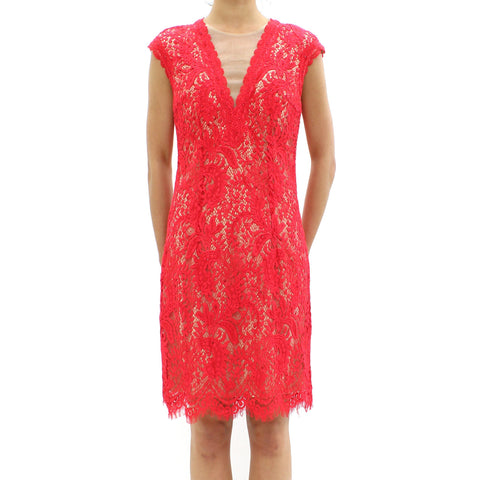 Womens - Forever Unique Lazer Cut Lace Bodycon Red