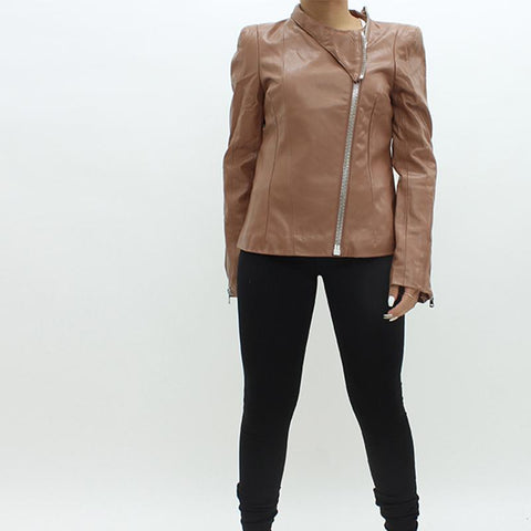 Womens - Forever Unique Lux Leatherette Jacket Tan
