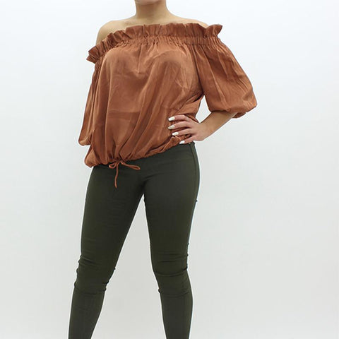 Womens - Forever Unique Off Shoulder Top Tan