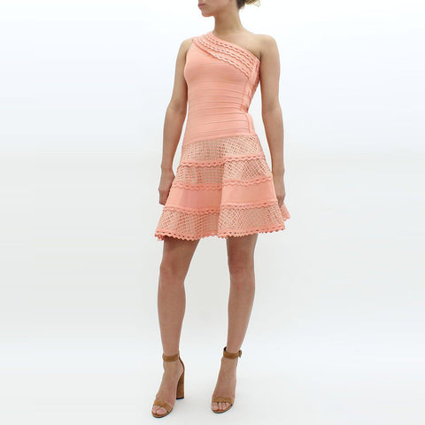 Womens - Forever Unique One Shoulder Bodycon Bandage Dress Peach