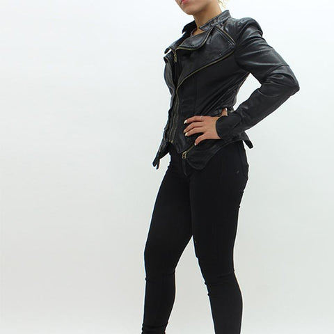 Womens - Forever Unique Pulp Leatherette Jacket Black