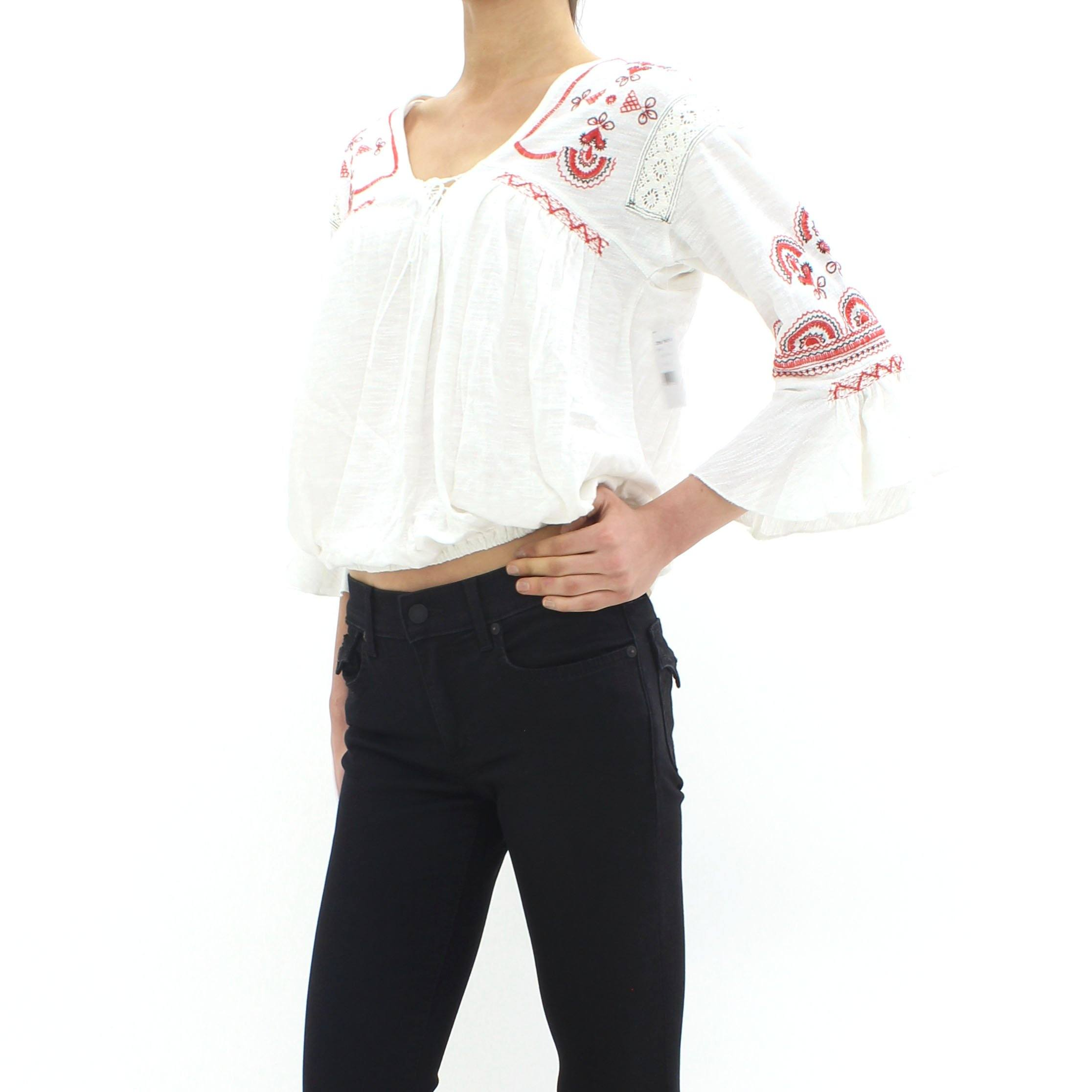 Free People Chiquita Embroidered Top White