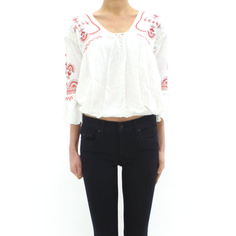 Womens - Free People Chiquita Embroidered Top White