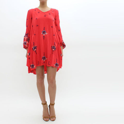 Womens - Free People Floral Embroidered Dress Red