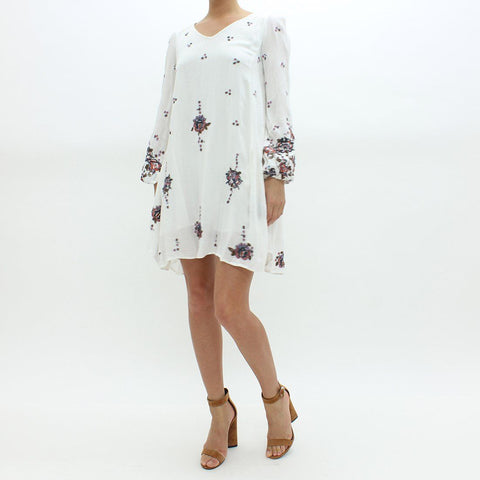 Womens - Free People Floral Embroidered Dress White