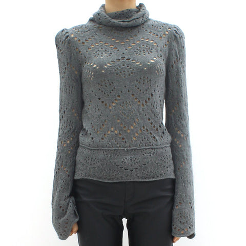 Womens - Free People Lazer Knit High Neck Top Grey