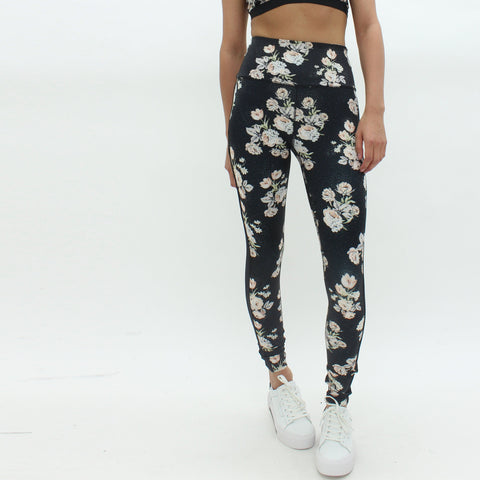 Womens - Free People Liza Floral Leggings Black