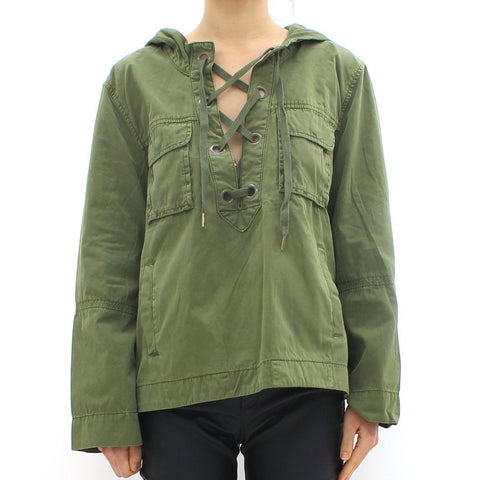 Womens - Free People Pull Over Jacket Khaki Green