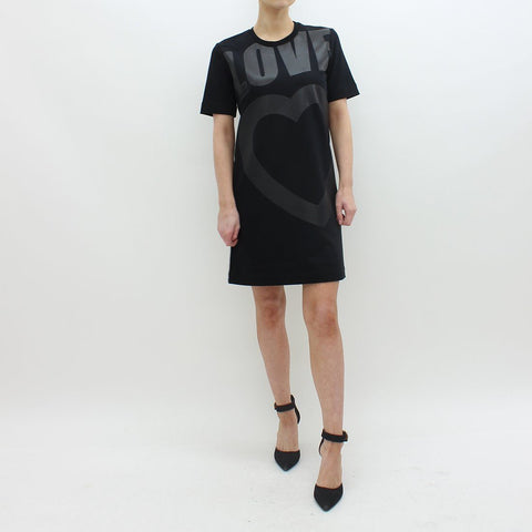 Womens - Moschino Embossed Love And Heart Print Dress Black