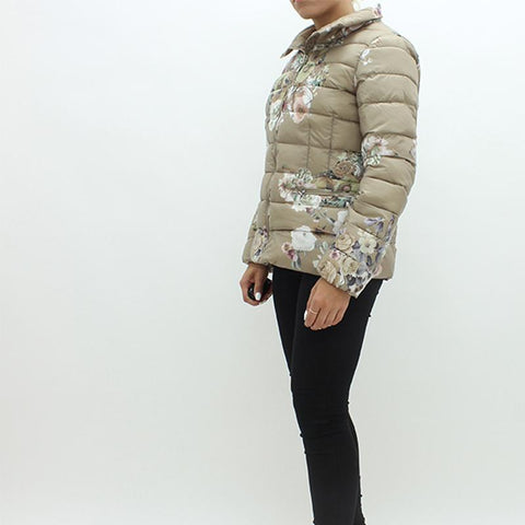 Womens - Rino And Pelle Vitality Floral Puffa Jacket Gold