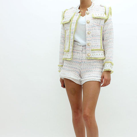 Womens - Sister Jane Bouncle Stud Fringed Jacket White