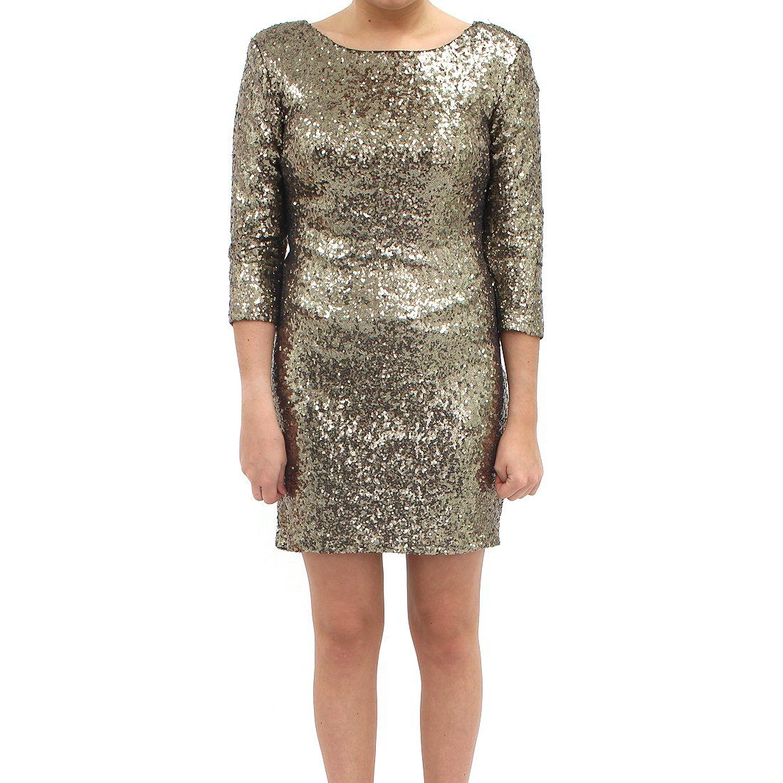 Tfnc Francis Open Back Sequin Gold Dress