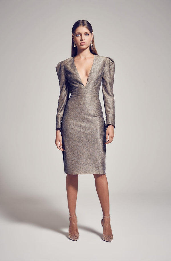 ASPEN DRESS METALLIC BRONZE KIANNAMAGELAKI
