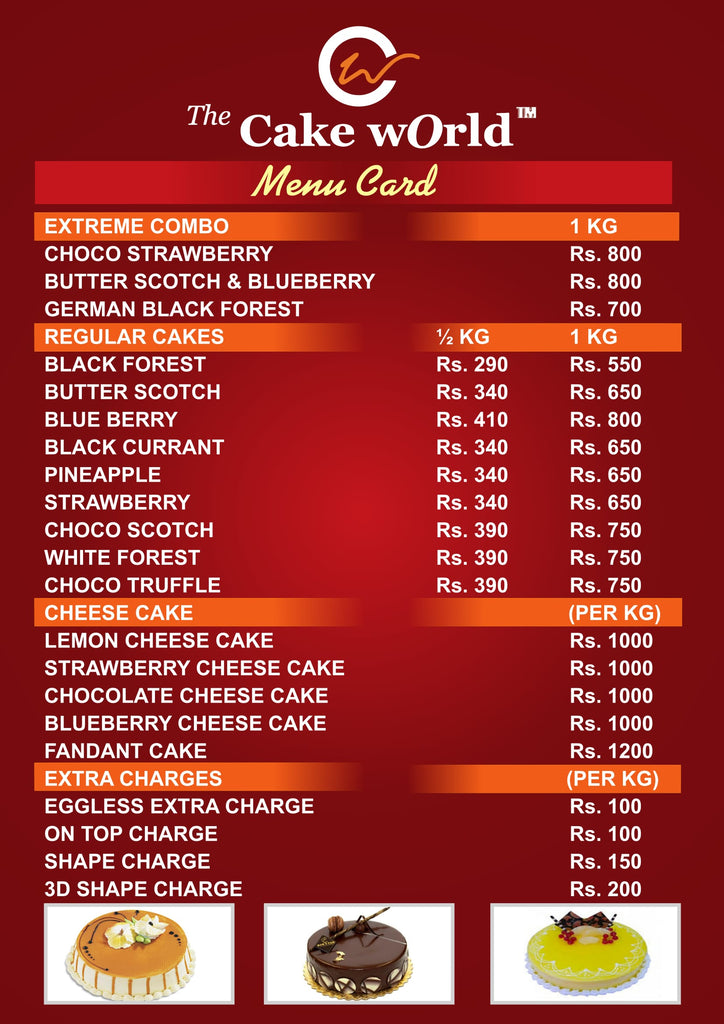 thecakeworld.in menu card