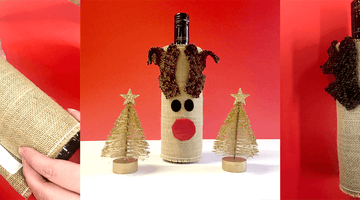 DIY Rudolph Wine Bottle Cover