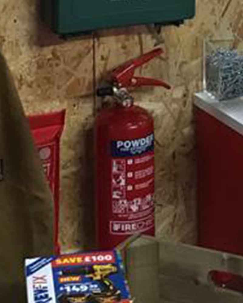 Workshop Organisation - Mount Fire Extinguisher on the Wall