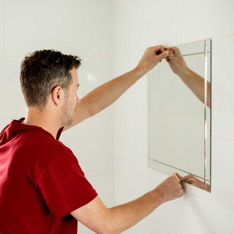 How to Hang a Bathroom Mirror on Tiles Without Nails, Screws or Drilling