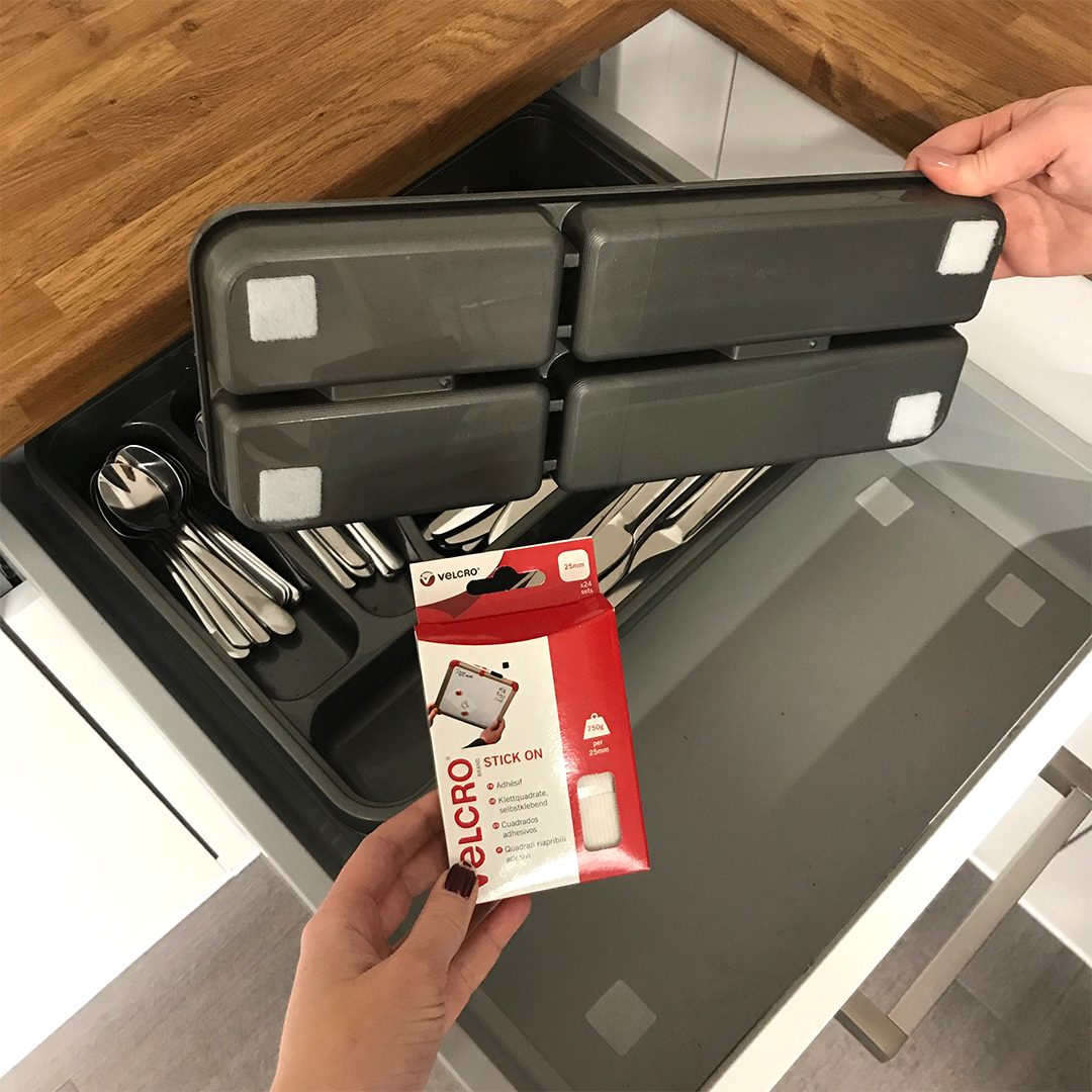 Kitchen Drawer Organisation Idea Using VELCRO® Brand Tape