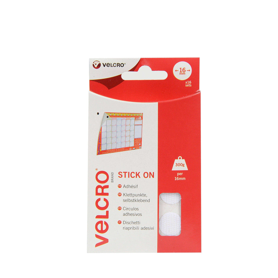 Coins - VELCRO® Brand Stick On Coins In White Pack Of 16