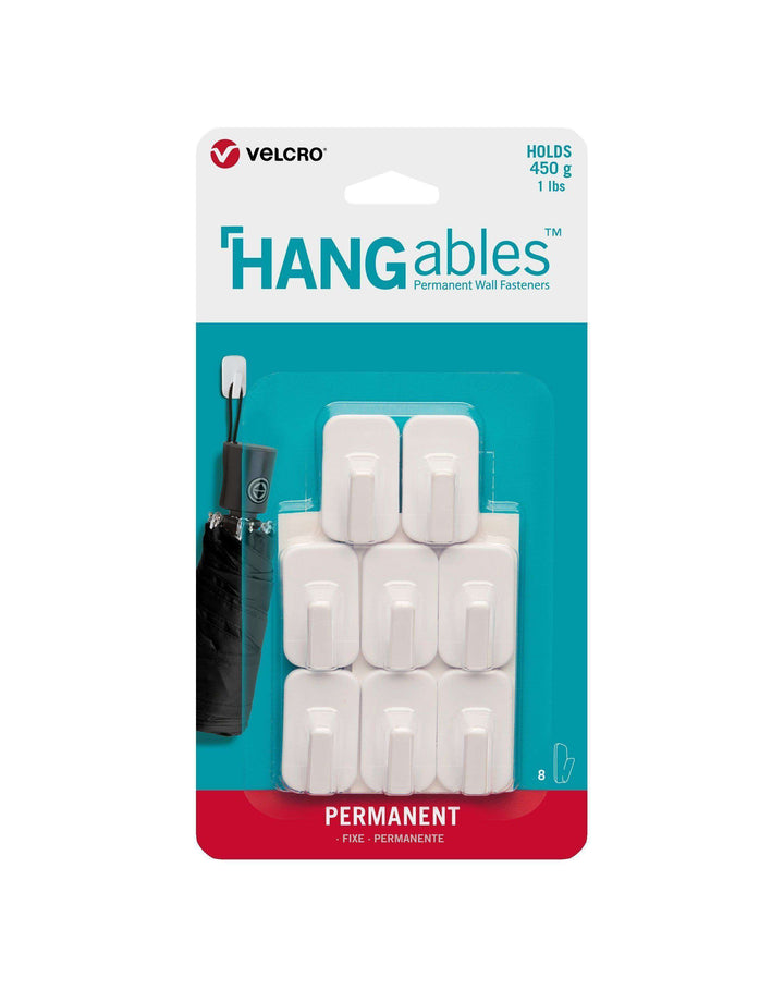 HANGables® Micro Permanent Adhesive Wall Hooks (White - 8 Pack)