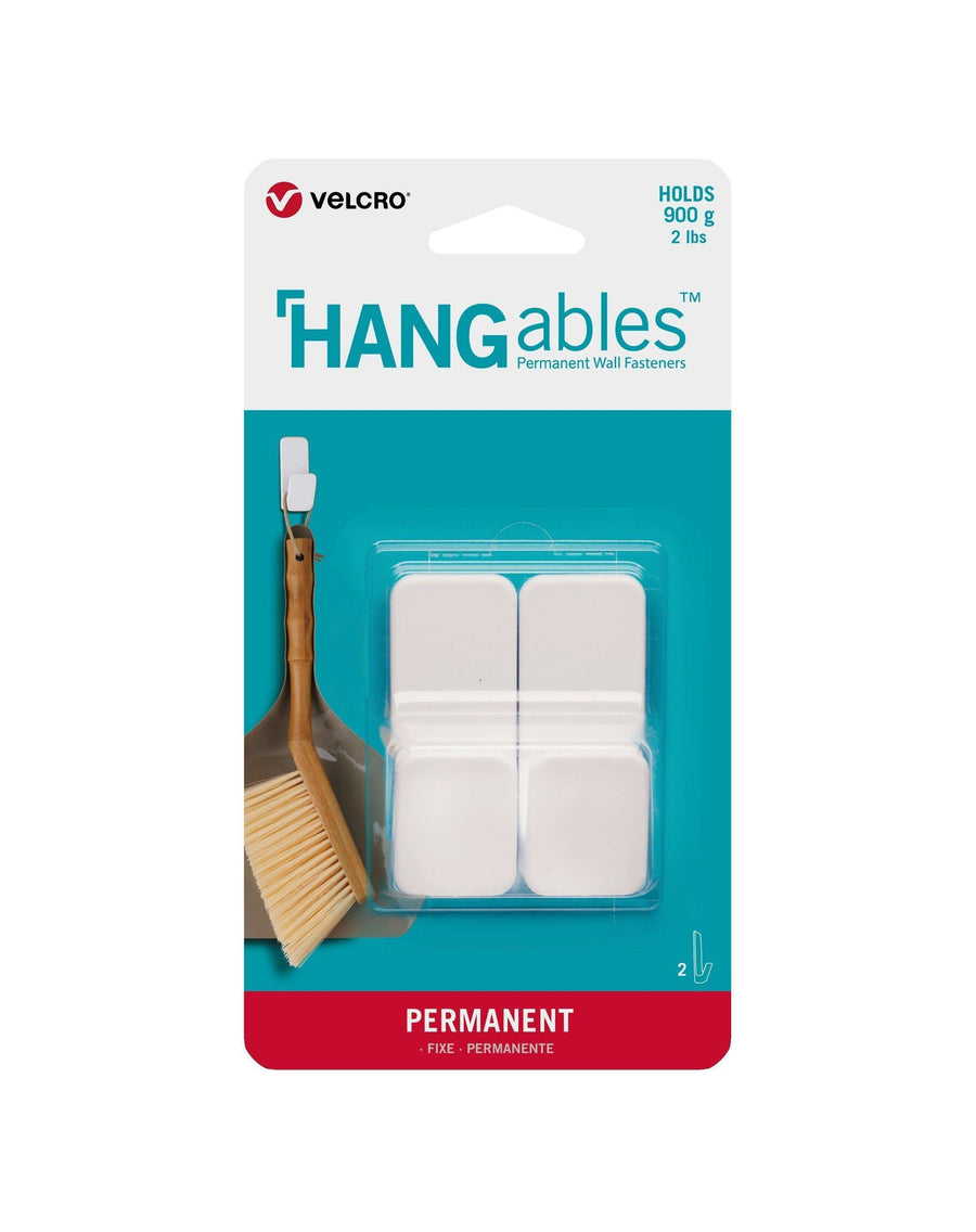HANGables® Small Permanent Adhesive Wall Hooks (White - 2 Pack)