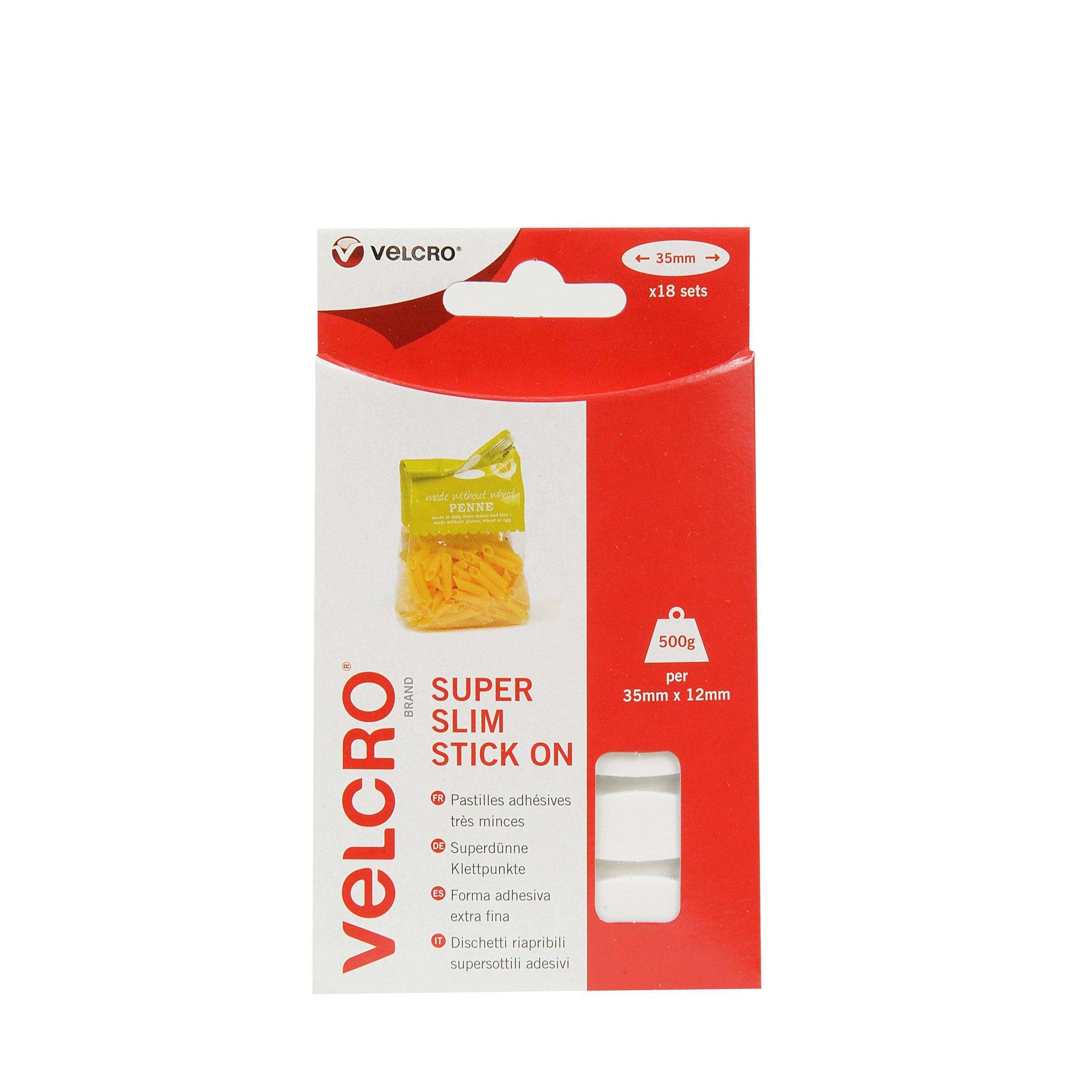 White VELCRO® Brand Super Slim Stick On Ovals x 18 Sets