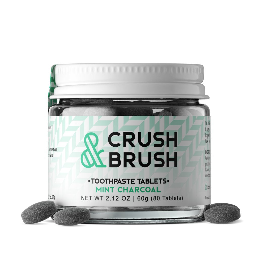 Nelson Naturals Crush & Brush Mint Charcoal Toothpaste Tablets 80 tabs