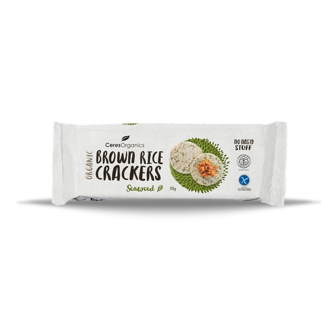 Ceres Organics Brown Rice Crackers with Seaweed 115g