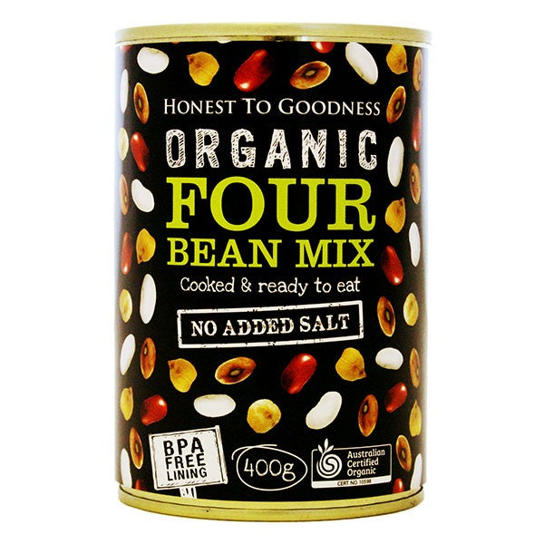 Organic Four Bean Mix 400g - BPA Free (Cooked)