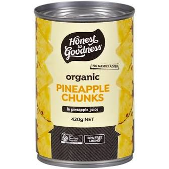 Organics Pineapple Chunks in Pineapple Juice 400g
