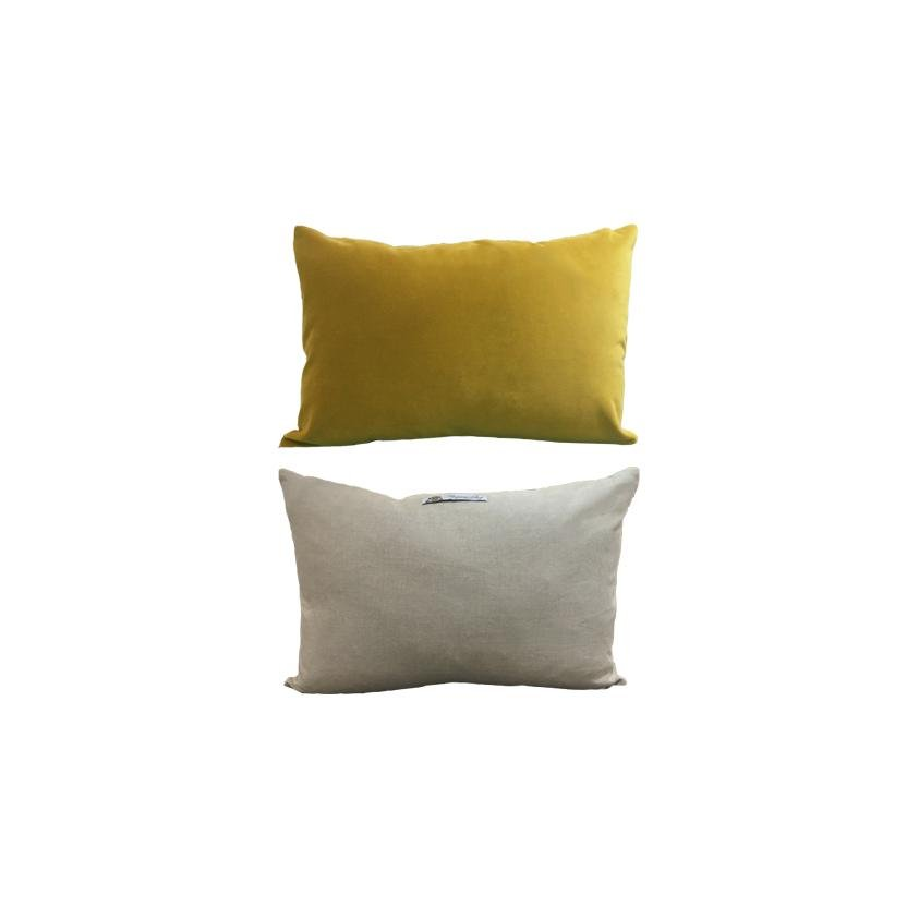 Cushion Linen & English Velvet - Chartreuse