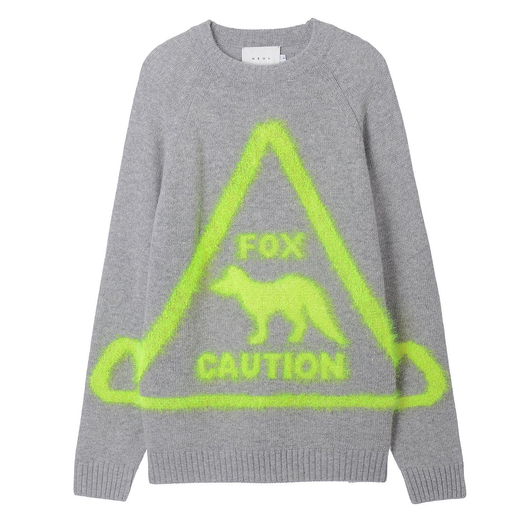 Fox Caution Sign Sweater Grey Neul - Marquise de Laborde