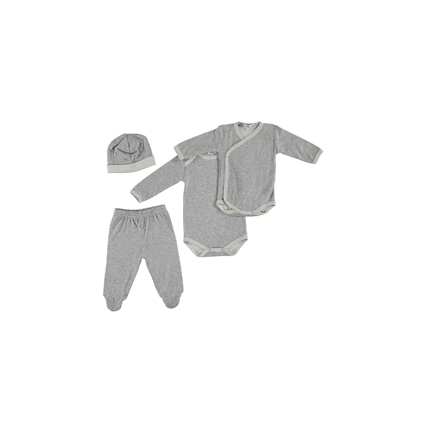 French Brushed Cotton Grey Newborn Set