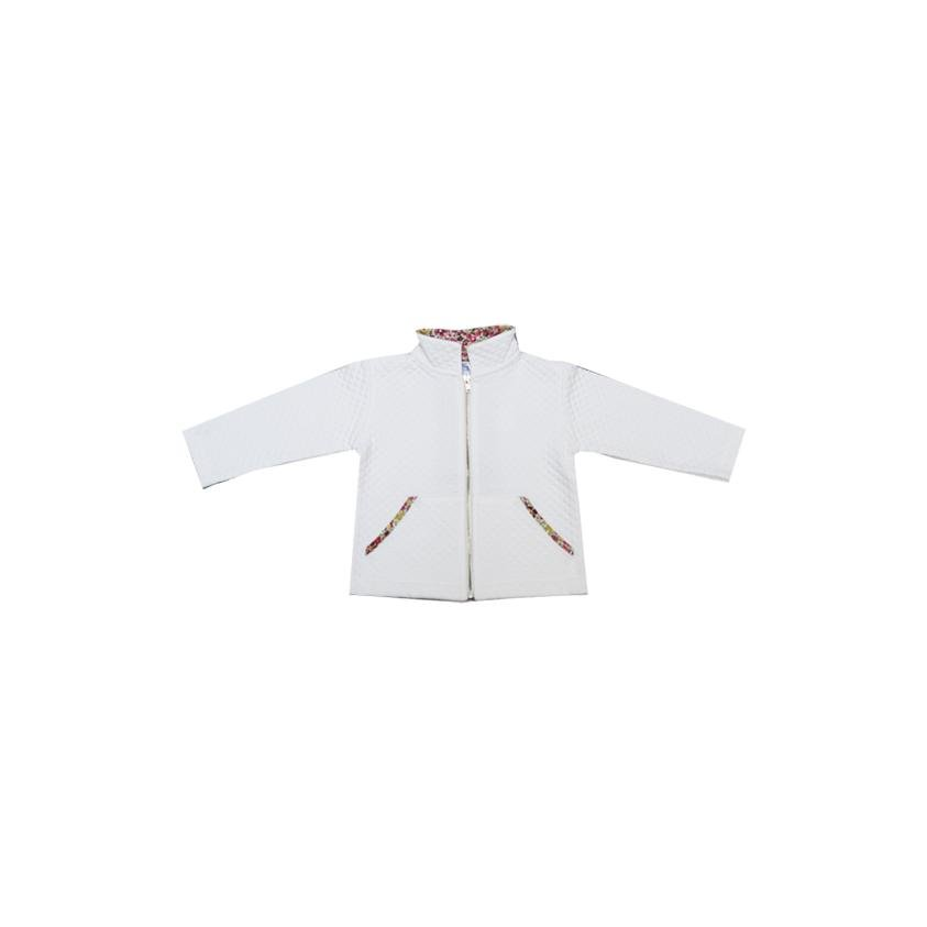Jacket - Milk White Organic Cotton / Liberty Dora Rouge - Marquise de Laborde