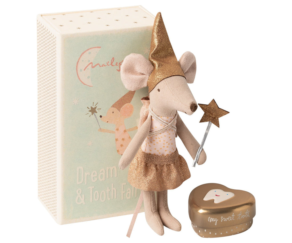 Maileg Tooth Fairy Big Sister Mouse in matchbox + Tooth Box - Marquise de Laborde