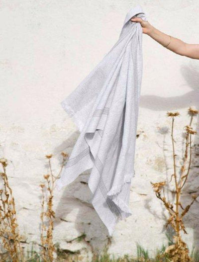 Mungo Continental Towels with Grey Stripes - Marquise de Laborde