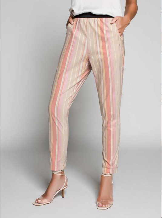 Pantalon Rayures D'or Rose MYTHS 715 - Marquise de Laborde