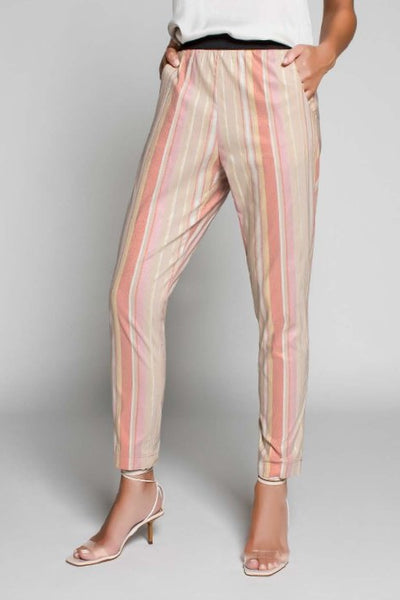 Pantalon Rayures D'or Rose MYTHS 715