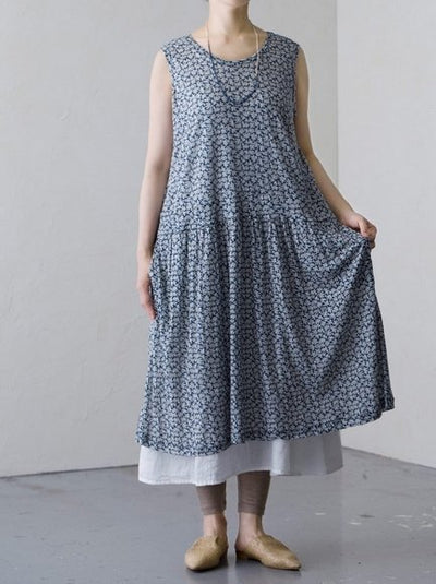 Robe Maille 100% Lin Navy Fleurs Vlas Blomme