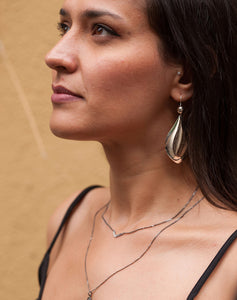 Model wearing Kinz Kanaan Silver Planet Drop earrings from the Rhythm collection