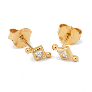 diamond stud earring danish design nordic design gold plated