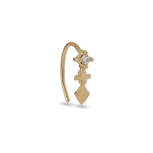 Kitalla Gold Diamond Hook Earring